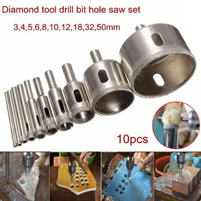 10x 3-50mm Diamond Drill Bit Hole Saw Set For Glass Ceramic Marble Tile kits set ()