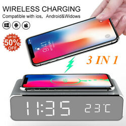 Electric Led Alarm Clock Phone Wireless Charger Thermometer Desktop Digital