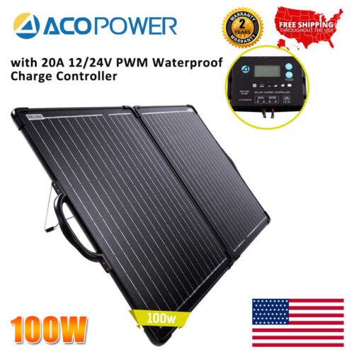 100W Solar Panel w/ Controller Outdoor Battery Charger 20A 1