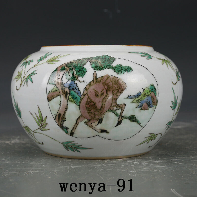 old China antique Qing Dynasty Kangxi Plain three colors Deer pattern Brush wash