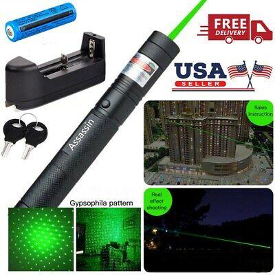 Ultra Strong Green Laser Pointer Pen Assassin Visible Lazer+18650Battery+Charger