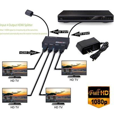Full HD HDMI Splitter Amplifier Repeater 1080p 4K Female Switch Box 1x 4 Port US - $12.94