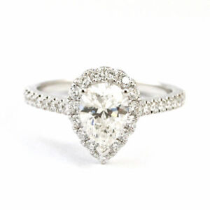 14k White Gold Pear Cut Halo Engagement Ring, Size 6 Estate 3917