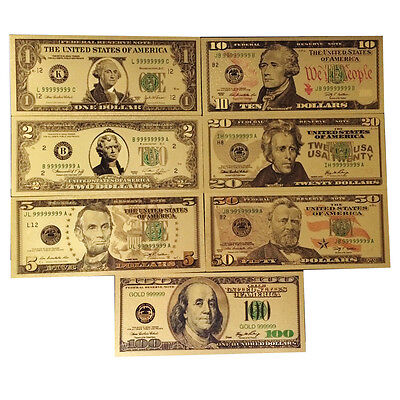 7PCS Gold Dollar Bill Full Set Gold Banknote Colorful USD 1/2/5/10/20/50/100 GO