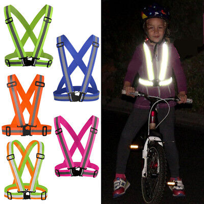 Reflective Safety Vest Belt Adjustable Motorcycle Cycling Harness Waistcoat