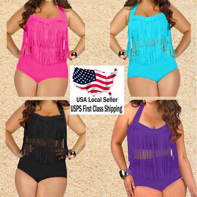 - Women Fringe Tassel High Waisted Push Up Plus Size Swimwear Bikini Set Swimsuit