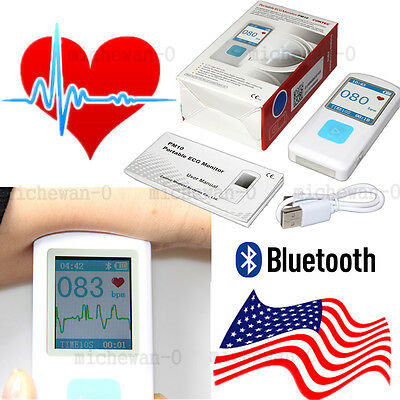 Bluetooth Portable Ecg Monitor Finger Touch Rechargeable Checker Fda Us Stock
