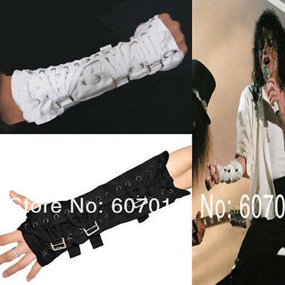 MJ Michael Jackson BAD Jam Punk Armbrace Black White Bandage Sleeve Glove Prop - Mj Gloves