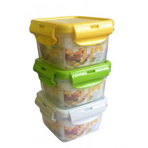 Food Lunch Containers Large Size 3 Pack Clip on top - BRAND NEW
