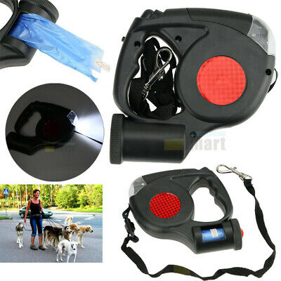 16FT Automatic Retractable Dog Leash Pet Collar With 3 LED Light & Garbage Bags ()