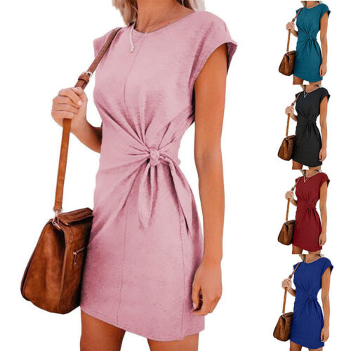 Womens Summer Short Sleeve Mini Dress Casual Loose Belt Tunic Party Wrap Dress Clothing, Shoes & Accessories