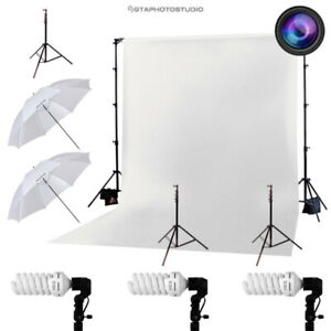 3-Point Photography Starter Lighting Kit w/ Background & Stand
