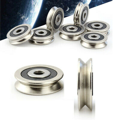 6x30x8mm U V Groove Metal Pulley Ball Bearings Wheel Wire Rope Guide Rail Roller