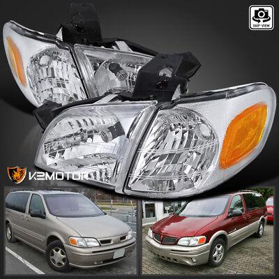97-05 Chevy Venture Silhouette Montana Crystal Headlights+Signal Corner Lamp 4PC