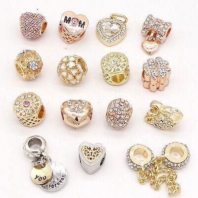 Gold 1pcs CZ European Charm Beads Fit 925 Necklace Bracelet Pendant Chain DIY  - Gold Bracelet Charms