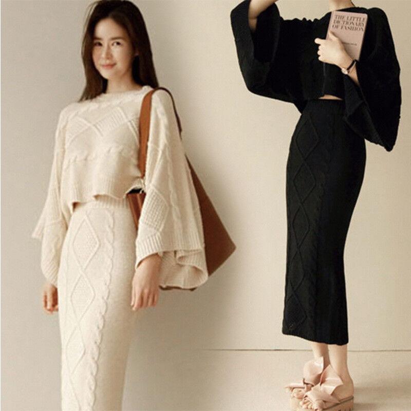 2 Pic Women/'s Knitting Warm Batwing Long Hip Package Set Top Dress Sweater Suit
