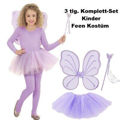 Kinder Feen Kostüm Set 3tlg. Tüllrock Flügel Zauberstab Lila - - Lila Schmetterling Kostüm Flügel