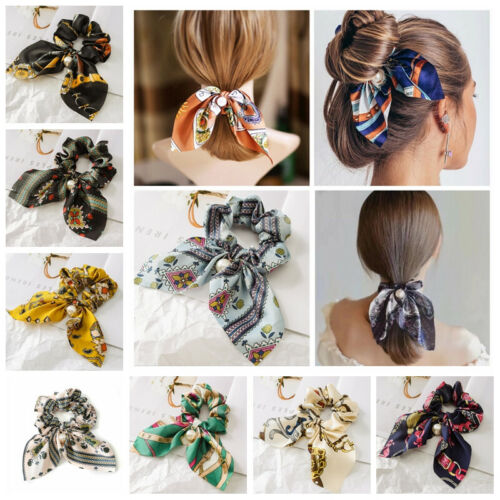 solid floral bow scrunchie hair band elastic