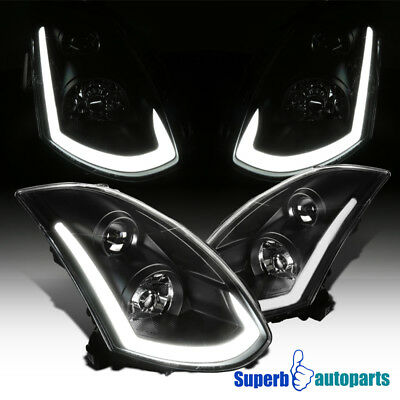 For 03-07 Infiniti G35 Coupe Black Projector Headlights+Integrated LED Signal for sale  Walnut