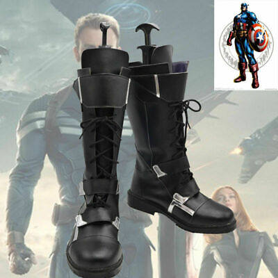 Captain America Boots (The Avengers Captain America Winter Soldier Cosplay Shoes Boots)
