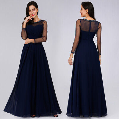 Ever-Pretty US Long Sleeve Mother Of Bride Full Length Clubwear Formal Gown Navy ()
