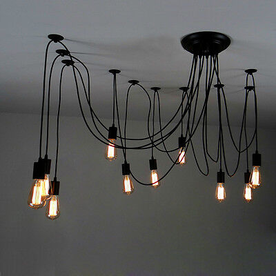 10 Hanging Exposed Bulb Adjustable Black Swag Multiple