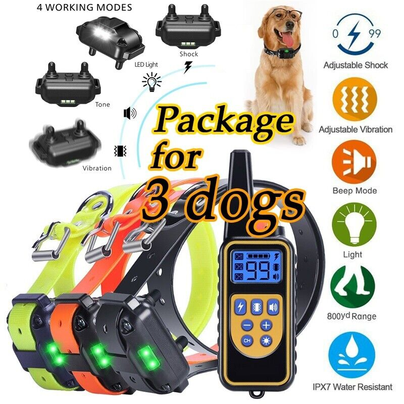 800m Waterproof Electric Remote Pet Trainer Shock Training Collar for 1 or 2 Dog