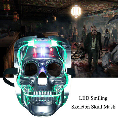 Silver Light Up LED Skeleton Skull Rave Mask Halloween Cosplay Costume Party - Light Up Maske