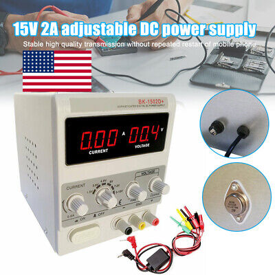 15v2a Adjustable Dc Power Supply Variable Dual Digital Lab Test School Equipment