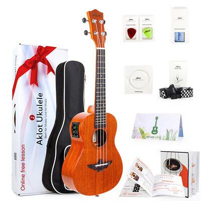 AKLOT Ukulele Electric Acoustic Solid Mahogany Ukelele Soprano Concert Tenor Kit