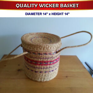 A QUALITY BARROW WICKER PERU MADE BASKET WITH HANDLES