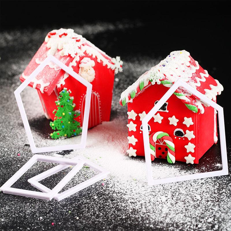 3D Christmas House Gingerbread Cookie Cutter Mold Sugarcraft Fondant Decor Set