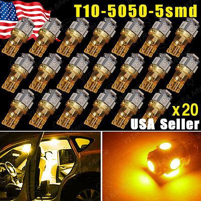 20X Super Bright Amber Yellow T10  194 168 2825 5 Led Lights Lamp Bulbs 5050 Smd