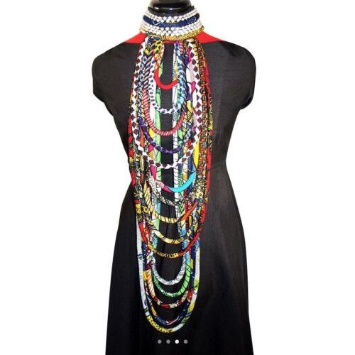 Women Print Fabric Ankara Handmade Necklace African Colorful Shawl Tribal Jewelr