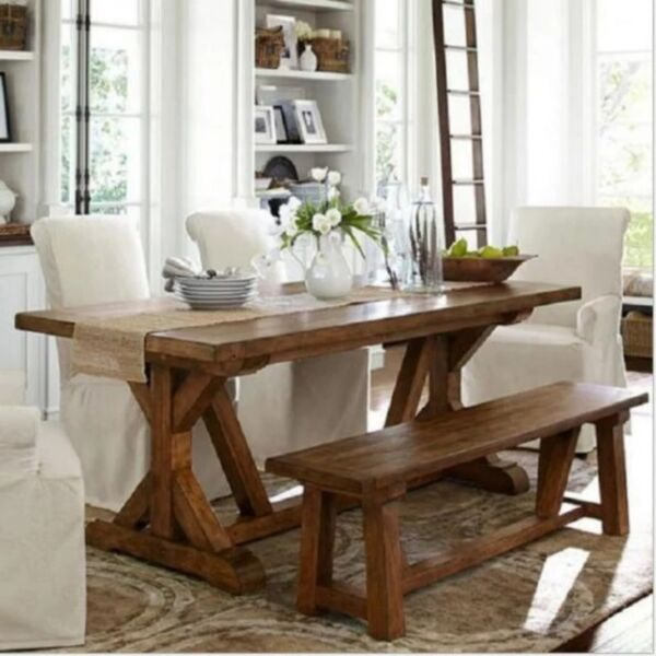 E 017 PO Solid Wood Dining Table Bench