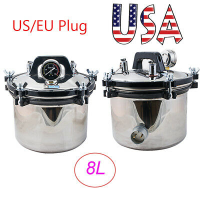 2x 8l High Pressure Steam Sterilizer Medical Dental Autoclave Sterilization Seal