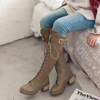Womens riding Knee High Boots Lace Up Chunky Heels Buckle strap knight boots   - Chunky Knee High Heels