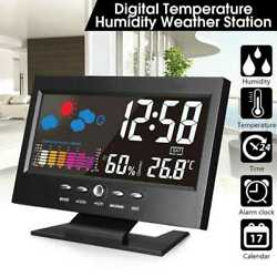 LCD Color Wireless Weather Station Outdoor Alarm Clock Thermometer