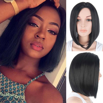 US Stock Women Short Bob Haircut Natural Black Heat Resistant Synthetic Hair Wig](Short Black Bob Wig)