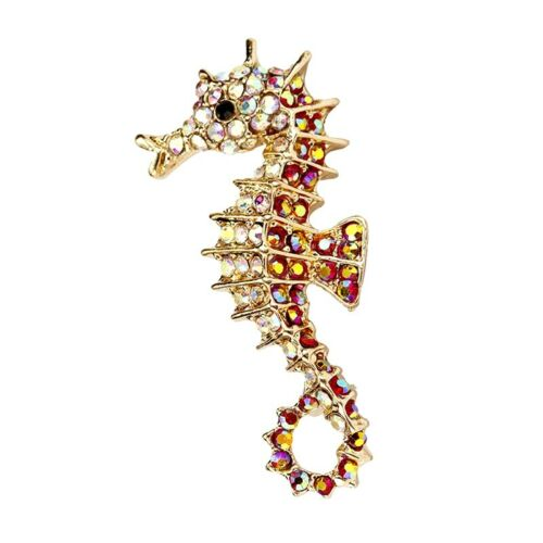 "Seahorse Brooch pin pink rhinestones 2""x1""scuba diving surf GIFT#1 christmas"