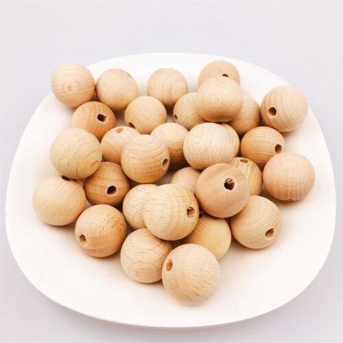 100 Natural Round Wooden Spacer Beads Kids Creative Craft Supplies 10mm