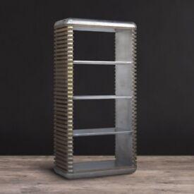 2x Timothy Oulton designer Castaway aluminum & reclaimed wood bookcases bookshelf pair vintage
