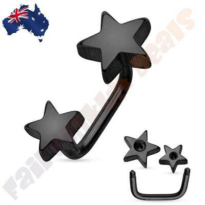 316L Surgical Steel Double Star Black Ion Plated Lippy Loop/Eyebrow Ring ()