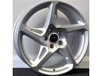 """19"""" River R4 - Silver Alloy Wheels & Tyres. Suitable for most Volkswagen, Seat & Audi (5x112)"""