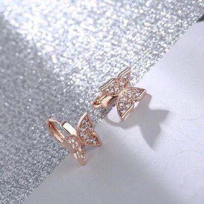 Small Butterfly Earrings - Sweet rose gold plated butterfly shape cubic zirconia small hoop earrings