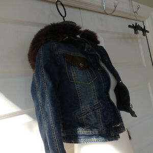 The Children's Place Hooded Faux Fur jean Jacket size 8