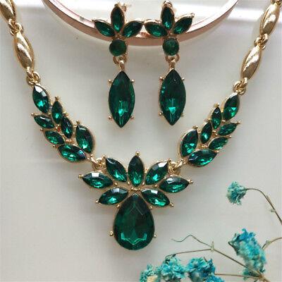 Women's Fashion Gold Plated CZ Stone Necklace Earrings Flower Wedding Jewelry ()