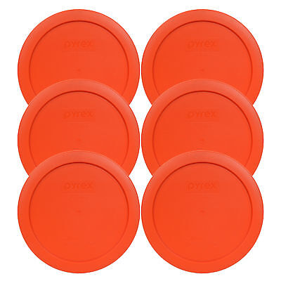 Pyrex 7201-PC 4 Cup Round Pumpkin Orange Lid Cover 6PK for Glass Bowl New