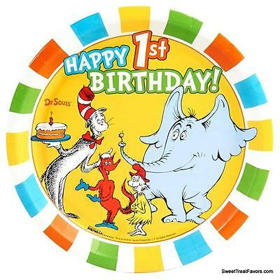 Cat in the Hat Dr Seuss Party PLATES LUNCH 1st First Birthday Supplies 8PC *NEW* (Dr Seuss Party Supplies 1st Birthday)