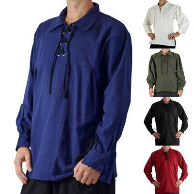 Mens New Pirate Gothic Medieval Musketeer Shirt Fancy Dress Standard Lace Up US - Mens Pirate Shirts